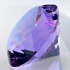 Large 200mm Crystal Purple Paperweight Diamond Shape Cut Glass Large Giant Jewel