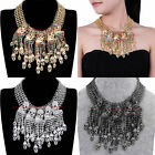 Charm Fashion Jewelry Chain Crystal Skull Heads Statement Pendant Bib Necklace