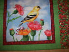 A GOLDFINCH BIRD SWEET MELODY COTTON QUILTING FABRIC PANEL