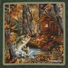 Woodland Cabin Stream Fish Realtree 14 Quilt Block Square Fabric Panel