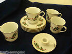 FINE CHINA OF JAPAN SET OF 4 CUPS AND SAUCERS-HOLLY & BERRIES + CANDLE HOLDER