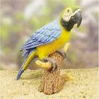 Blue Macaw Parrot Perched on a Tree Stump Mounted for Display Figurine