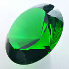 Huge 200mm Crystal Diamond Shaped Paperweight Green Glass Jewel Faceted Prism