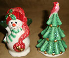FITZ AND FLOYD Holiday CHRISTMAS Tree Cardinal SNOWMAN Salt And Pepper SHAKER FF