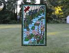 205 x 345 Large Handcrafted stained glass window panel Dragonfly water lily