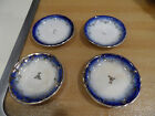 4 - Antique Flow Blue & Gold Gilt Butter Pats Scalloped Edge Raised Scrolling