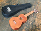 Mahalo Transparent Brown Natural Wood Soprano Ukulele Uke  Case