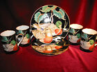 Fitz & Floyd Mallard Pond Set of 3 Salad Plates 4 Mugs Fine Porcelain Japan 339