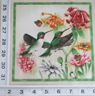 Hummingbird Red Throated Daisies Zinnia Bee 7 Quilt Block Square Fabric Panel