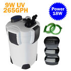 New External Aquarium Filter 3-Stage 265GPH 75Gallon Canister+9W UV Sterilizer