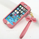 PINK BOW Chain Wristlet Strap Pouch Leather Case for Apple iPhone 6 plus 5.5