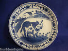FORMALITIES BY BAUM BROS PLATE-BLUE/WHITE-FARM SCENE-BULL-WITH PLATE HANGER-EUC