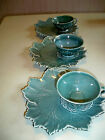 SET OF 3 WOODFIELD BY STEUBENVILLE POTTERY LUNCH PLATES WITH CUP TEAL COLOR