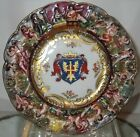 Superb Antique Hand Painted Capodimonte Porcelain Plate w Armorial Crest