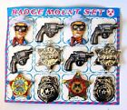 1950s Cowboy Lone Ranger 16 Toy Sheriff Western Badge Tin Set Pinbacks NOS Japan