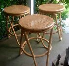 3 Vintage Thonet  rattan Bentwood Bar Counter Cane Seat bent wood stools chair