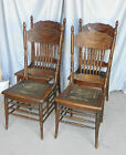 Antique Set of Four Oak Pressed Back Chairs Larkin