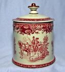 Red Toile Transferware CAROLINA CARRIAGE SCENE JAR with Lid HORSE AND BUGGY