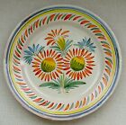 Wonderful Vintage French Quimper Folk Art Plate Sunflowers  9-3/4