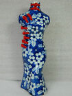 Chinese Blue & White Porcelain Cheongsam Statue Figurine Vase,Hand-Painted