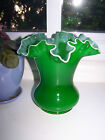 Vintage Fenton Emerald Green Cased Glass Ruffled Vase Nice Excellent Cond