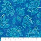 Calypso Blue Leaves Northcott Quilt Fabric by the 1 2 yd 23 44