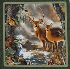 Deer Doe Buck Fall Forest Scene Realtree 14 Quilt Block Square Fabric Panel