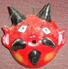 VINTAGE ESTATE MEXICAN FOLK ART COCONUT MASK DIABLO DEVIL - FREE S/H