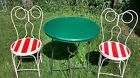 Vintage Ice Cream Table Set GreenTable 2 Chairs Candy Cane seats red white iron