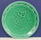 SARREGUEMINES MAJOLICA GREEN ROSE PLATE DIGOIN VITRY PV MADE IN FRANCE