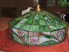 Antique Stained Glass Chandelier Hanging Ceiling Light Fixture Tulips 1920s-30s