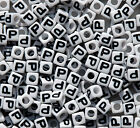 Letter P 100pc 7mm Alphabet Beads White with Glossy Black Letters