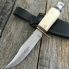 Hand Made Hunting Knife Real Genuine White Bone Handle Sawback Blade KA-295