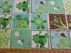 G is for Green Patty Reed Designs Fabric Remnant 45x44 grasshopper lizard turtle