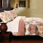 NEW LG QUEEN/FULL QUILT+SHAMS~RED ORANGE GOLDEN YELLOW DAMASK RVRS RED IVORY GEO