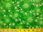 Green Snowflake Christmas Winter 43/44  Cotton Fabric by Choice