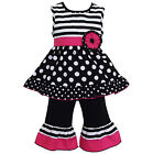 AnnLoren Boutique Little Girls sz 6 Stripes & polka Dots Capri Outfit clothing