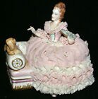 Irish Dresden MX Lady Elizabeth with Dog Lace Meissen Figurine * 6