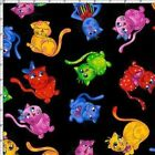 Loralie Designs Cool Cats 691 792 Black Cat Toss  Cotton Fabric FREE US SHIPPING
