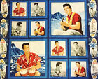 Elvis Presley Blue Hawaii Panel and Quilt  Blocks set   Fabric  BFabric
