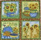 Sunflower Fabric Blueberry Bee Skep Bouquet Country Quilt block squares Panel 4