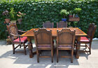 Fine ANTIQUE Carved OAK English Dining Table & 6 Matching Chairs ca. Late1800's