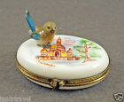 NEW HAND PAINTED AUTHENTIC FRENCH LIMOGES BOX CUTE BLUE BIRD IN PARIS