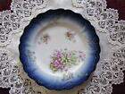 Vintage Cobalt Blue Plate with BEAUTIFUL Violets & Gold Accents LQQK!