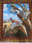 100% Cotton Wall Panel Fabric, 'Pheasants', Bird Nature, Hunting, End Of Bolt