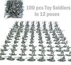 100 pcs Military Plastic Toy Soldiers Army Men 1:72 Figures in 12 Poses Silver