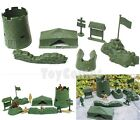 7 pcs Military Tent Sandbag Fort Playset Army Men Toy Soldier Accessories