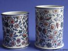 TWO ANTIQUES SMALL VASES FRENCH FAIENCE GIEN PATTERN CACHEMIRE
