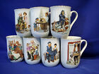 (7) MUGS by NORMAN ROCKWELL -1986 MUSEUM COLLECTION INC -PORCELAIN MADE IN JAPAN