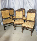 Set of Six Antique Formal Oak Dining Chairs